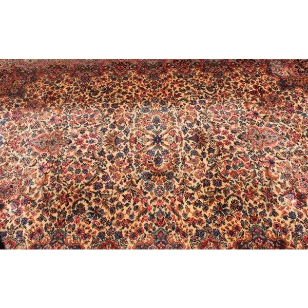 "Antique Karastan Kirman Wool Rug - 5′8″ x 9′7"" - Image 3 of 5"