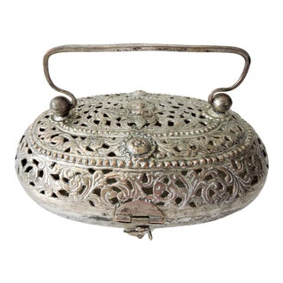 Vintage Indian Silver Plated Catchall or Basket/Box For Sale