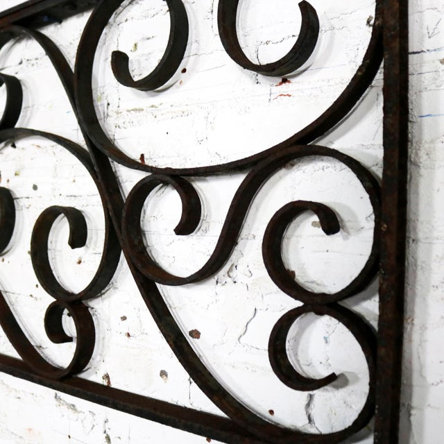 Antique Swirled Design Wrought Iron Railing Piece Trellis or Fence Section For Sale - Image 10 of 13