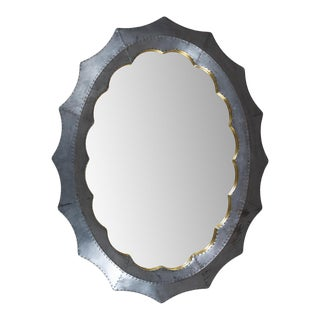 Norvel Zinc and Brass Trim Oval Mirror For Sale