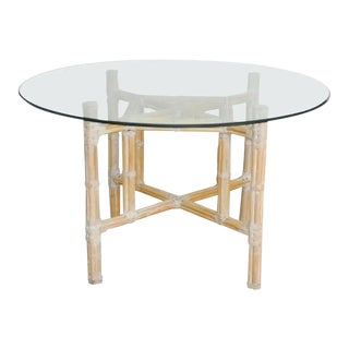 Vintage McGuire Organic Modern Bamboo Rattan Dining Table For Sale