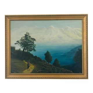 Vintage Landscape Oil Painting of a Person Hiking/Backpacking For Sale