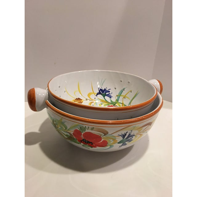 Italian Hand Painted Pasta Bowl & Colander - a Pair For Sale - Image 9 of 9
