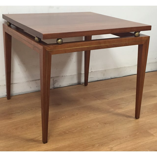 Mid-Century Solid Walnut & Brass Side Table - Image 3 of 11