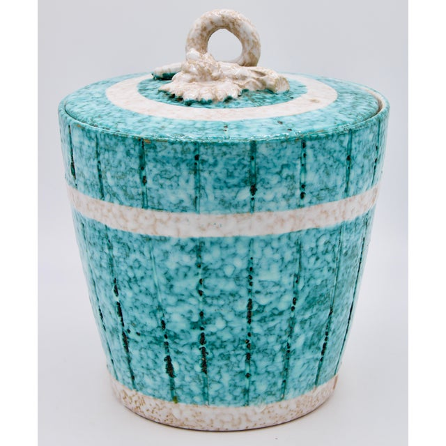 A stunning Vintage Italian Champagne Ice Bucket composed of Terra-cotta with a beautiful, glossy, textured turquoise...