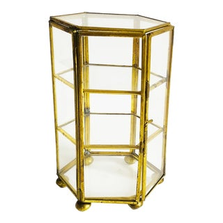 Vintage Brass and Glass Hexagonal Jewelry Display Box For Sale