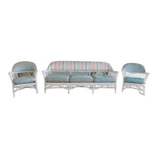 Antique White Wicker Sofa Set - 3 Pieces For Sale