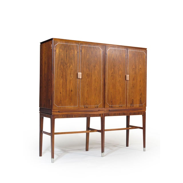 Mid-Century Modern Georg Kofoed Rosewood Cabinet with Eight-Karat White Gold Inlay For Sale - Image 3 of 10