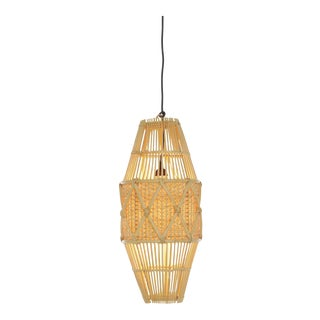 Round Pendant, Small, Beige, Rattan For Sale