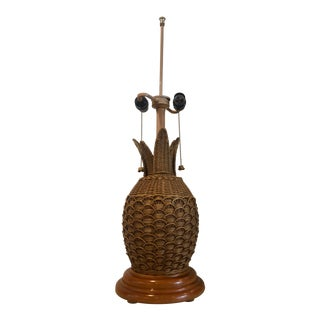 1960s Mid Century Wicker and Rattan Pineapple Lamp For Sale