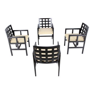 Vintage Mid Century Ward Bennet for Brickel Associates Black Side Dining Chairs- Set of 4 For Sale