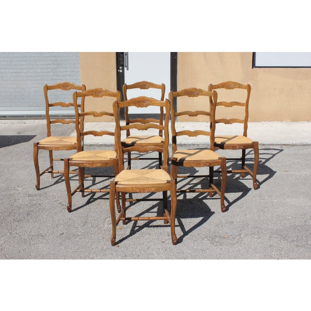 1910s Vintage French Country Rush Seat Solid Walnut Dining Chairs - Set of 6 For Sale - Image 13 of 13