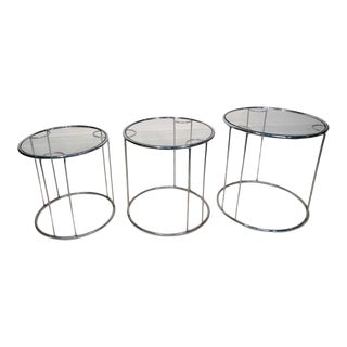 Set of Three Chrome Nesting Tables in the Manner of Milo Baughman For Sale
