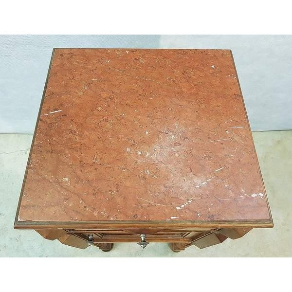 Antique French Vanity Armoire Barley Twist Stand Desk With Marble Top For Sale In New York - Image 6 of 13