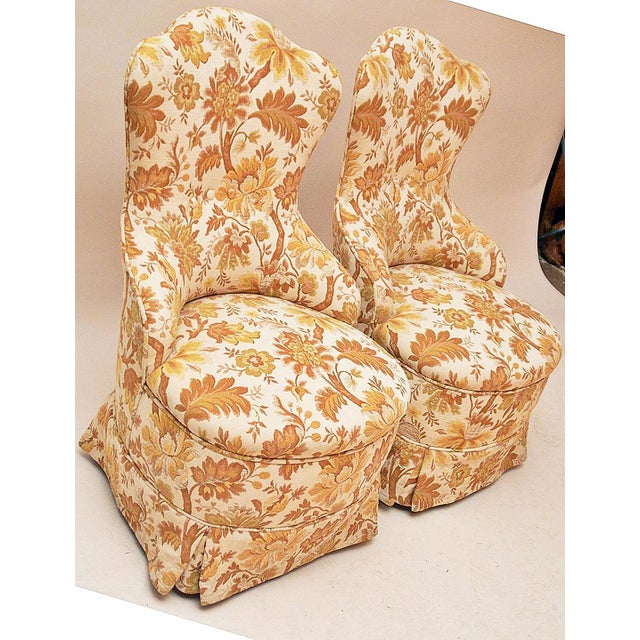 Brocade Slipper Chairs - A Pair - Image 3 of 6