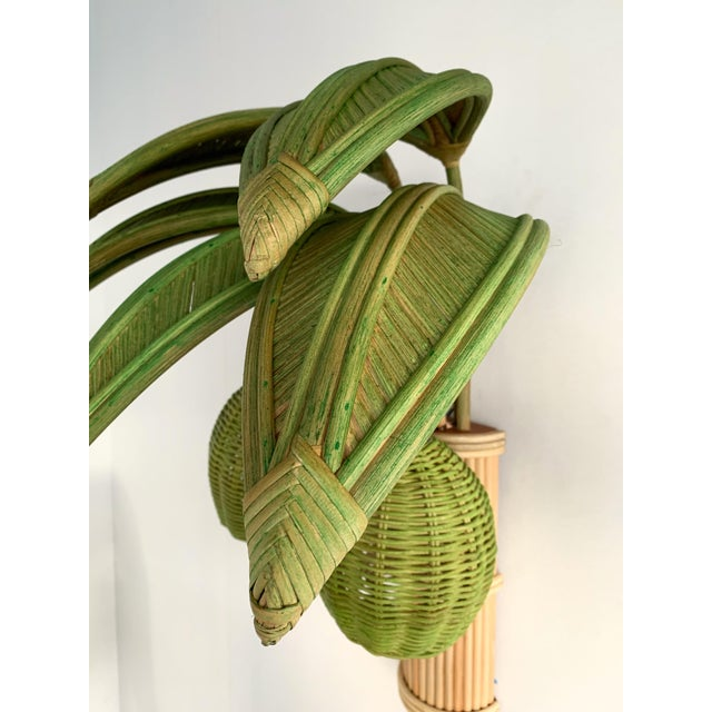 1980s Pair of Rattan Palm Tree Sconces. France, 1980s For Sale - Image 5 of 11