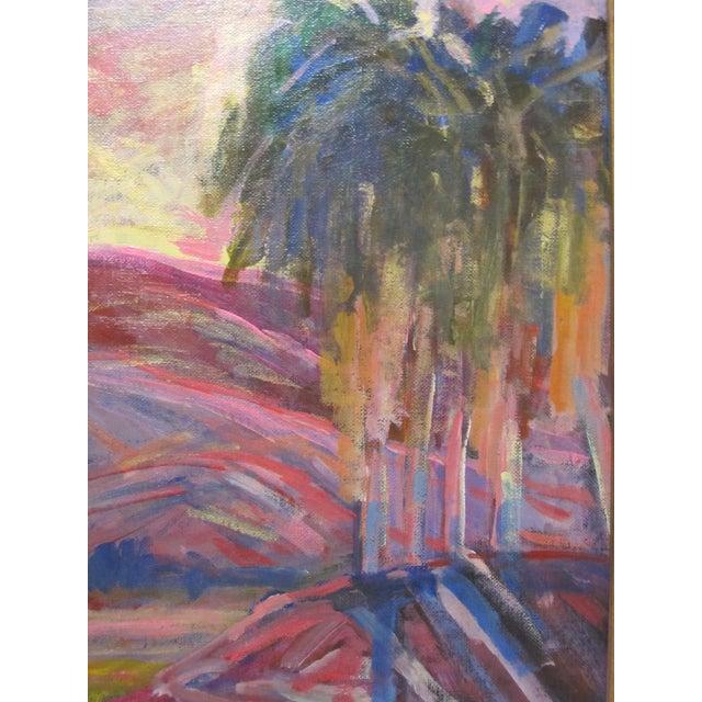 Contemporary Juan Guzman Rancho Mirage Ca Original Painting Landscape Desert Sunset Palm Tree For Sale - Image 3 of 6