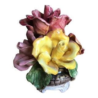 1960s Capodimonte Floral Sculpture For Sale