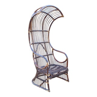 Vintage Hollywood RegencyMCM Franco Albini Rattan Canopy Throne Chair For Sale