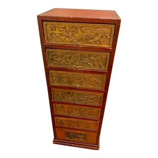 Chinese Carved Tower Chest For Sale