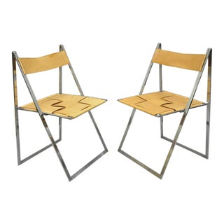 1960s Vintage Fontoni & Geraci Elios Italian Folding Chairs - A Pair For Sale