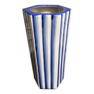 Vintage Boho Blue and White Stripe Ceramic Umbrella Stand For Sale