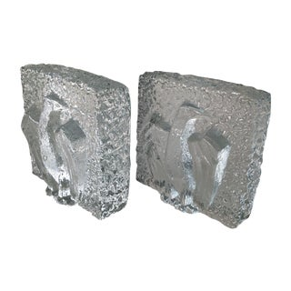 MCM Thick Glass Textured Eagle Bookends - A Pair For Sale