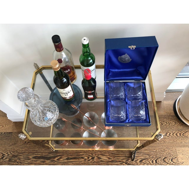 1960s Vintage Italian Brass Nickel & Glass Bar Cart For Sale In New York - Image 6 of 8