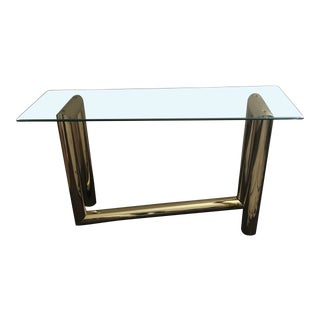 Karl Springer Attributed Brass Z Console Table For Sale