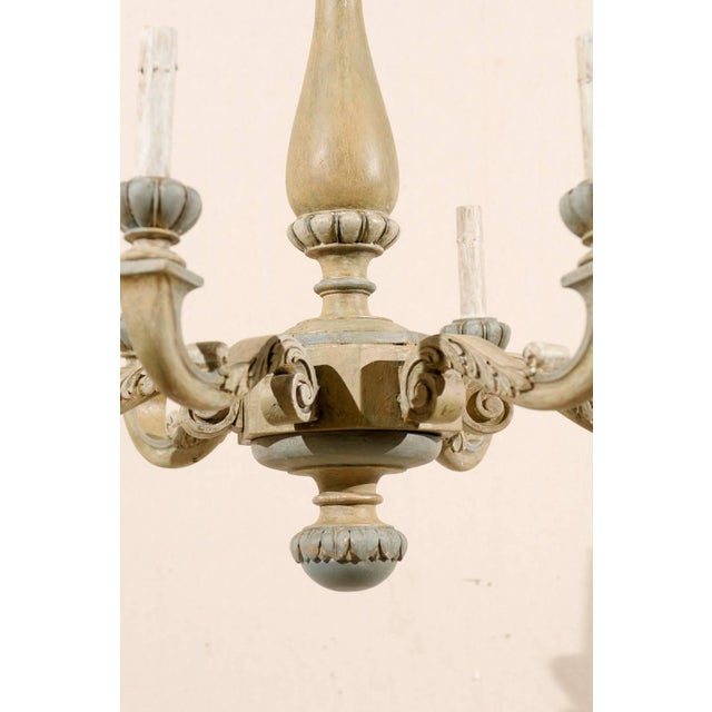 Mid 20th Century French Carved and Painted Wood Six-Light Vintage Chandelier, Neutral Color For Sale - Image 5 of 7