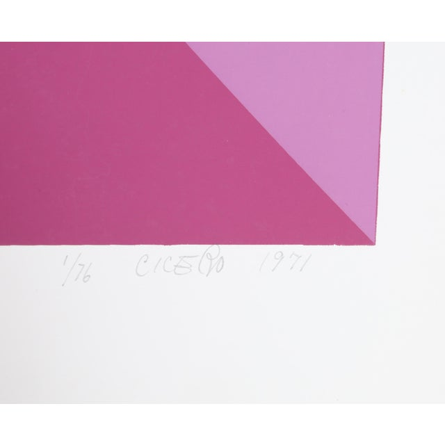 Abstract Purple Silk Screen by Carmen Cicero For Sale - Image 3 of 4