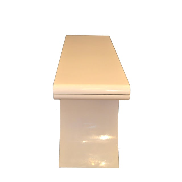 Hollywood Regency White Lacquer Console Table With Curved Legs For Sale - Image 9 of 11