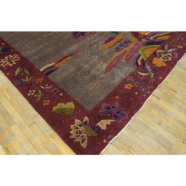 """Antique Chinese Art Deco Rug 8'10""""x11'6"""" For Sale - Image 12 of 13"""