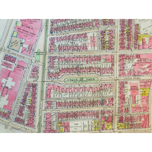This is an original Bromley Insurance map of Boston's Union Park neighboorhood in the South End. Not a reporduction. This...