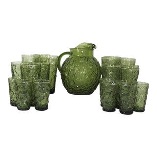 1960s Anchor Hocking Lido Milano Avocado Glasses Juice Glasses Pitcher - Set of 22