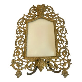Vintage Brass Picture Frame With Bacchus at the Top For Sale