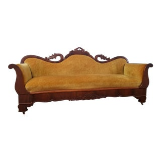 Antique Victorian Mahogany Gold Velvet Sofa