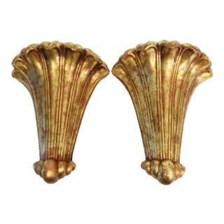 Vintage Gold Leaf Gilt Ceramic Scalloped Hollywood Regency Wall Pocket Sconces- a Pair For Sale