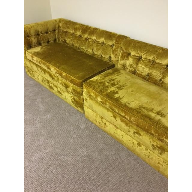 Mid-Century Crushed Gold Velvet Sectional For Sale - Image 5 of 7