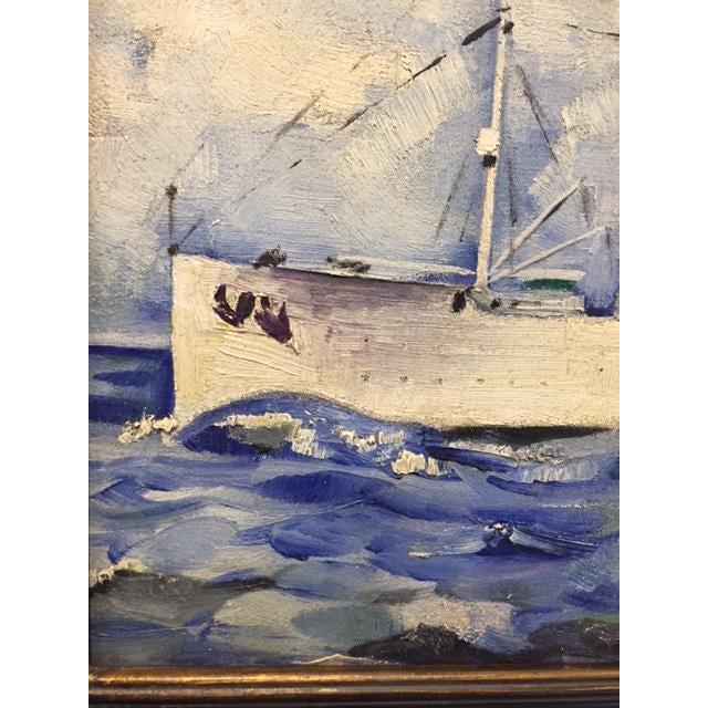 Vintage Mid-Century Cruise Ship Painting - Image 4 of 7