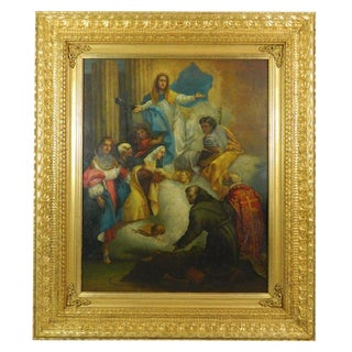 """Framed Oil on Copper Religious Painting """"The Ascension of Mary"""", 19th Century For Sale"""