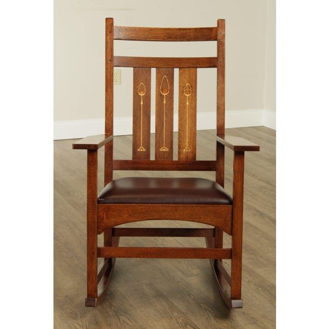 Mission Stickley Mission Collection Harvey Ellis Rocker with Inlay For Sale - Image 3 of 13