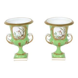 English Porcelain Floral Decorative Vases / Urns - A Pair For Sale