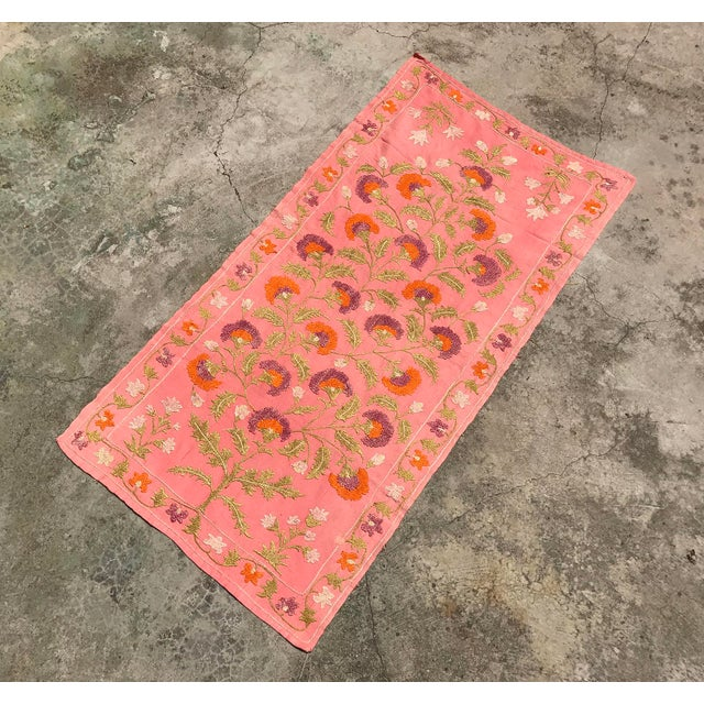 Pink Silk on Cotton Floral Table Runner - Image 4 of 6