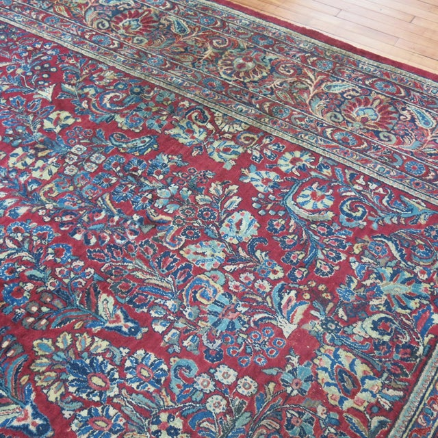 """Antique Red & Blue Persian Sarouk Rug - 10'4"""" x 20'6"""" For Sale - Image 5 of 8"""
