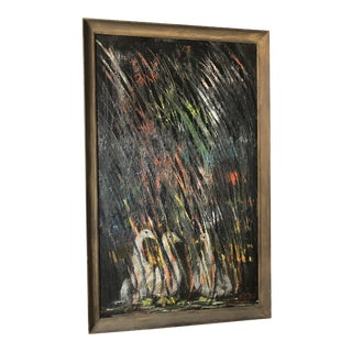 Anne Gardner Vintage Abstract Oil on Board With Wood Frame For Sale