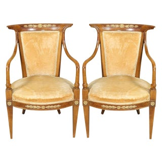 Italian Neoclassic Style Armchairs - a Pair For Sale