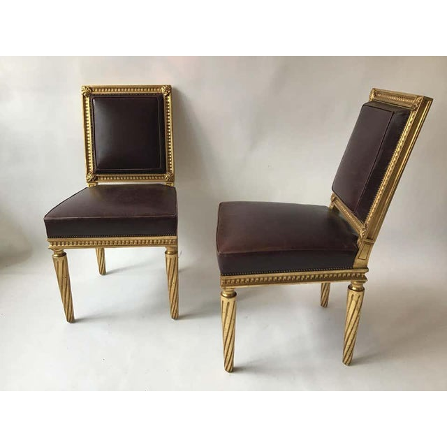 French Style Louis XVI Giltwood/ Leather Dining Chairs- Set of 4 For Sale In New York - Image 6 of 13