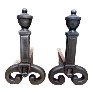 Antique Victorian Cast Iron Andirons Urn, Ball Finial Scroll Feet - a Pair For Sale