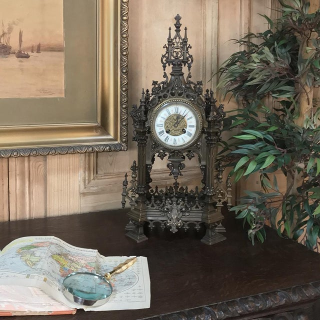 French Mantel Clock, 19th Century French Gothic in Bronze For Sale - Image 3 of 13